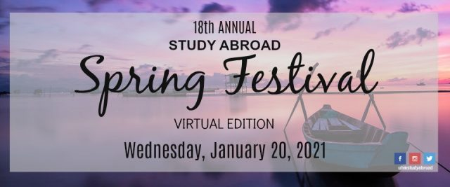 18th Annual Study Abroad Spring Festival, Virtual Edition, Wednesday, January 20, 2021