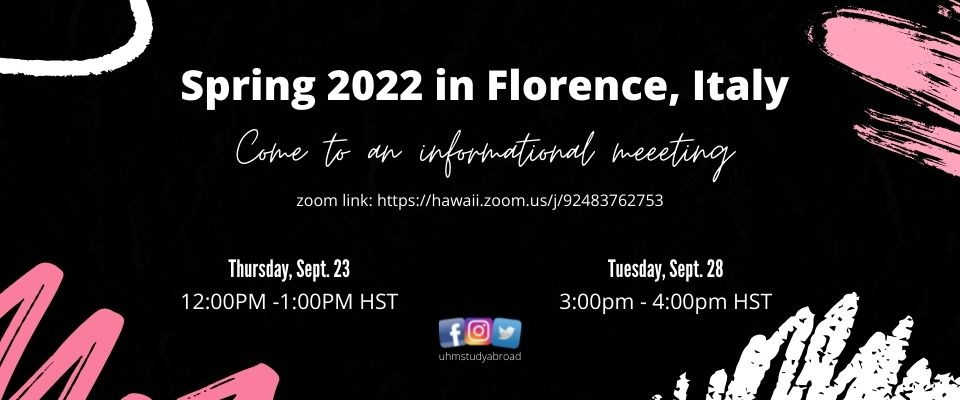 Spring 2022 in Florence, Italy Info. Meeeting