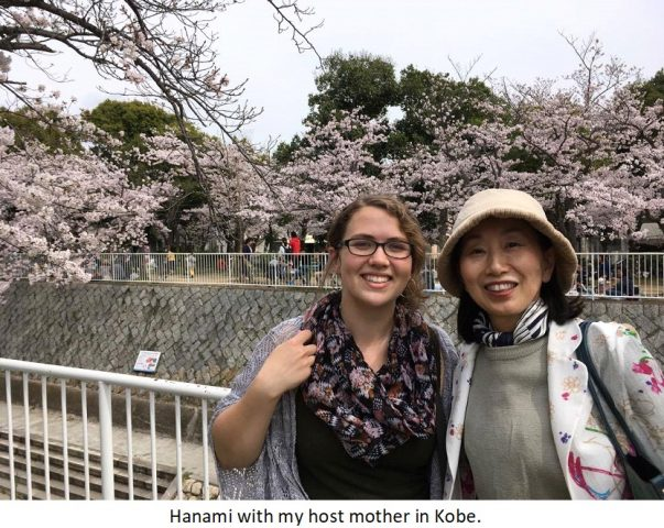 Kayla going flower-viewing with her Japanese host mother.
