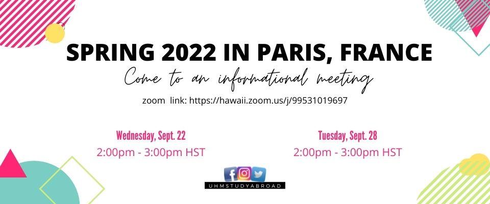 Spring 2022 in Paris, France Info. Meeting
