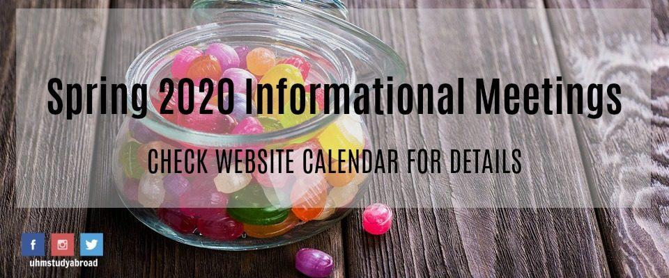 Spring 2020 Info. Meetings