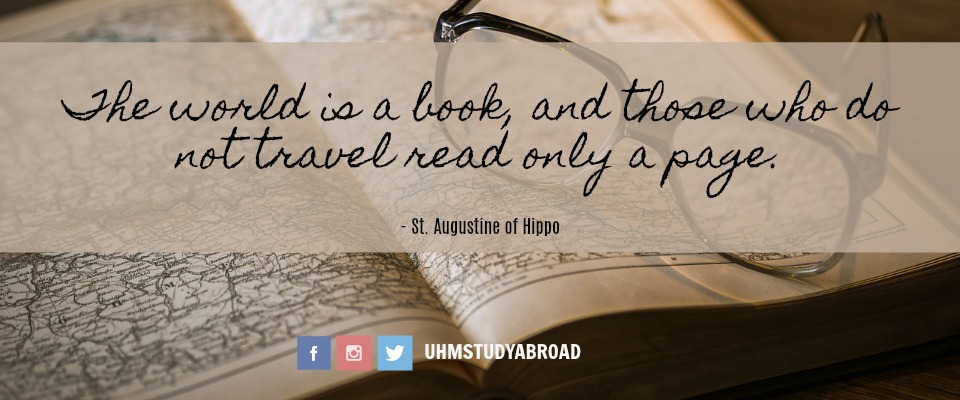 Image of a vintage atlas book and a pair of spectacles, with a quote by St. Augustine of Hippo: The world is a book, and those who not travel read only a page.
