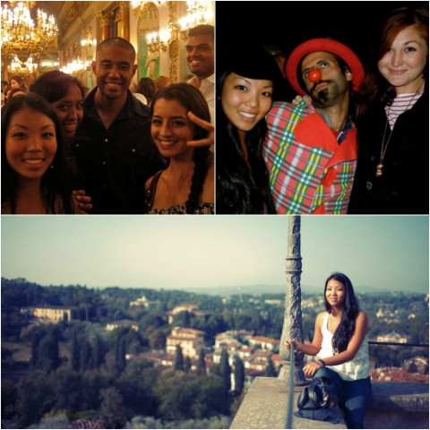 A collage of Emma posing with friends and at a scenic point in Florence.