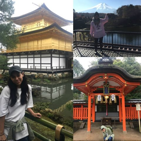Jacqueline standing before the Golden Pavillion, Mount Fuji, and a red shrine in Japan.