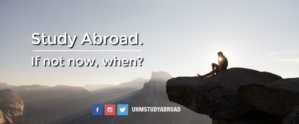 Photograph of a person sitting on the edge of a cliff in the mountains with the tagline: Study Abroad. If not now, when?
