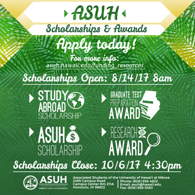 Scholarships open 8/14/2017 and close 10/16/2017
