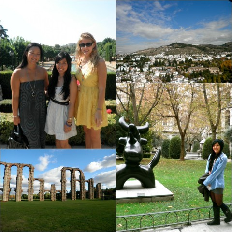 Kacie posing with friends, in front of a statue, and scenic views of Spain.