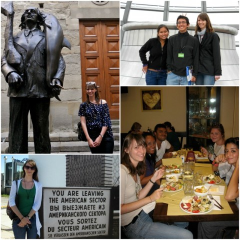 Katrina posing with friends at a restaurant and by signs and statues.