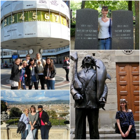 A collage of Katrina posing with friends by various buildings and scenic points in Berlin and Florence.