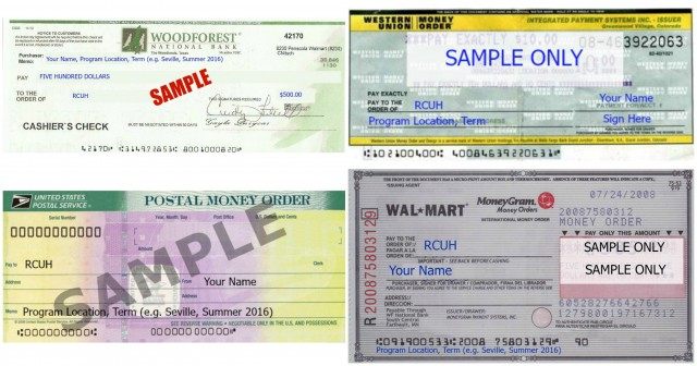 Money Order Cashier's Check samples