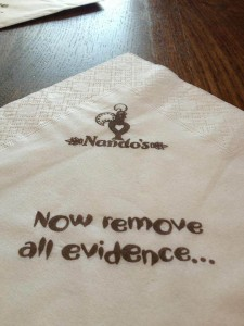 A napkin from Nando's.