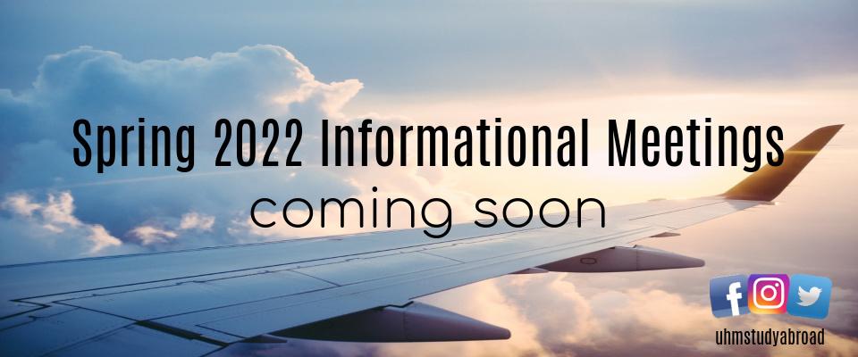 Spring 2022 Information Meetings coming soon!