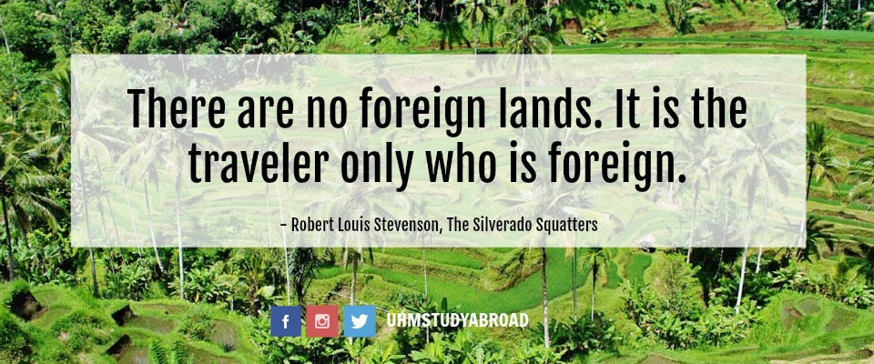 Image of rice paddy fields in Indonesia, with a quote by Robert Louis Stevenson, from his travel memoir, The Silverado Squatters: There are no foreign lands. It is the traveler only who is foreign.