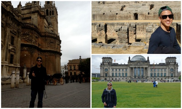A collage of Mick standing before various historical buildings in Spain.