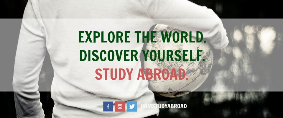 Photograph of a person carrying a globe with the tagline: Explore the World. Discover Yourself. Study Abroad.