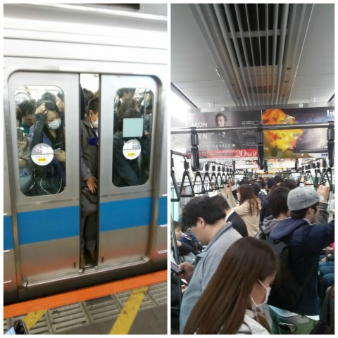 An interior and exterior view of crowded Japanese commuter trains.