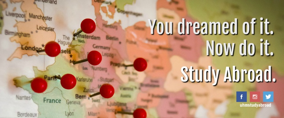 Photograph of a world map with pushpins and the tagline: You dreamed of it. Now do it. Study Abroad.